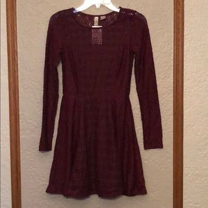 NWT H&M Burgundy Lace Fit and Flare Dress size 6